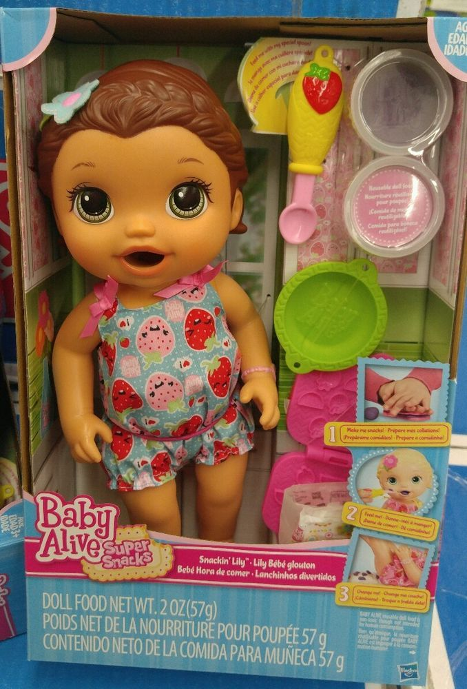 Baby Alive Super Snacks Snackin Lily Brunette Nib Best Seller Doll Feeding Babyalive Baby Alive Doll Clothes Baby Alive Dolls Little Girl Toys