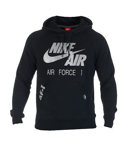 a921c624e4b3 NIKE Air Force One Pullover style hoodie Reflective silver screen print NIKE  AIR logo on front Long sleeve design Adjustable drawstring on hood