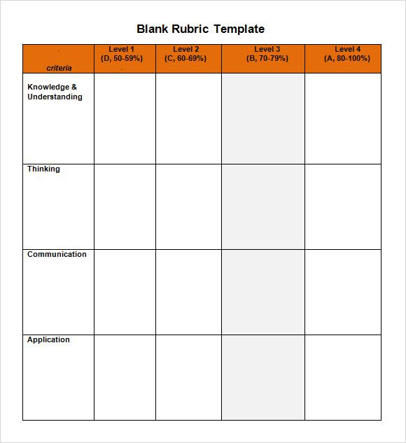 Blank Rubric Template Template