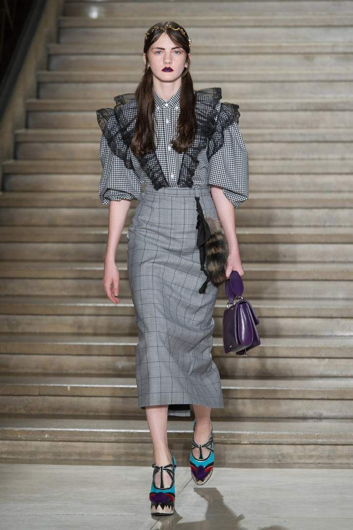 Miu Miu Black and white check cotton blouse with ruffled tulle