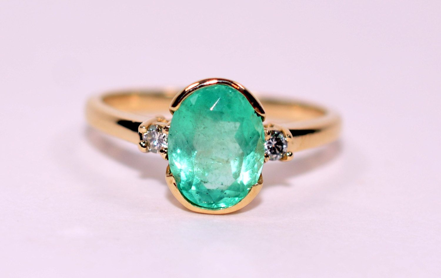 10% OFF SALE!! Angelic 1.55tcw Colombian Emerald & Diamond 14kt Yellow Gold Ring by rareestatefinds4u on Etsy
