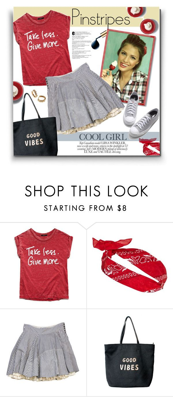 """""""176. Girly Pinstripes"""" by milva-bg ❤ liked on Polyvore featuring Forever 21, River Island, AllSaints, Venus and Jack Purcell"""