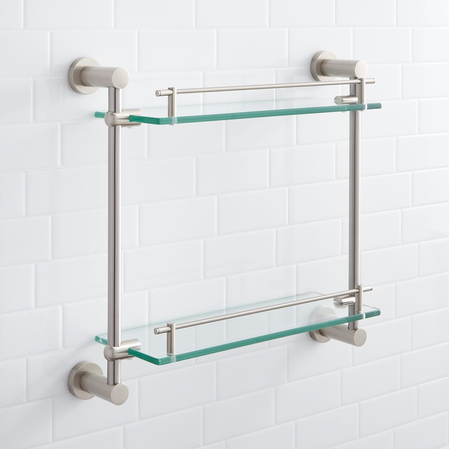 Ceeley Collection Tempered Glass Shelf In Two Shelves In Brushed
