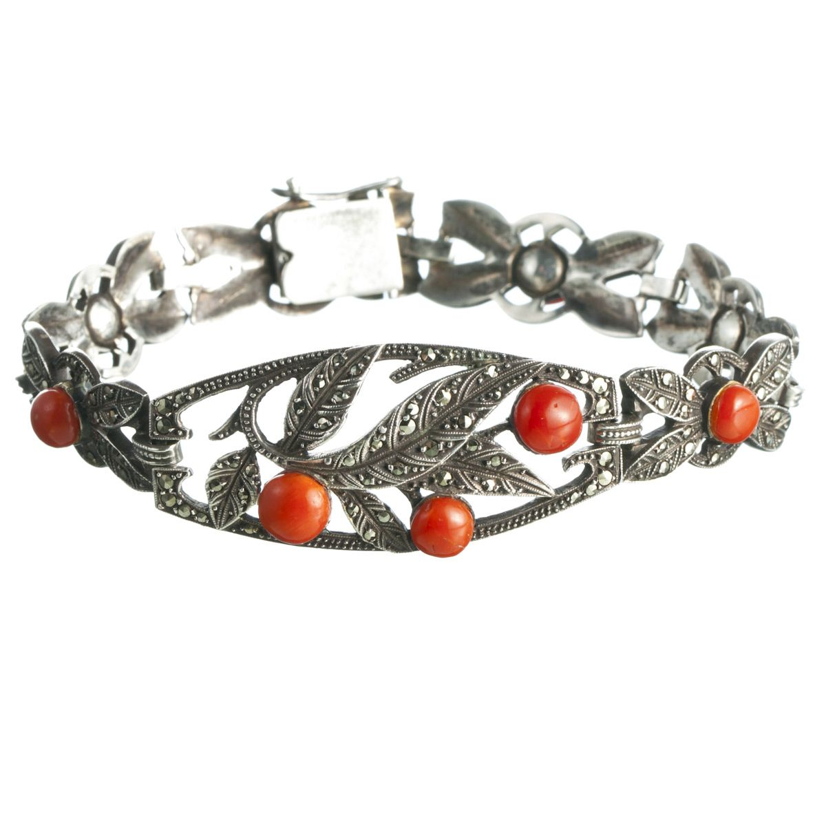 1930s Coral Sterling Marcasite Bracelet :: Antique Jewelry :: Alexis Bittar