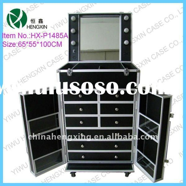 Professional Makeup Case With Lights With Drawers With Stand