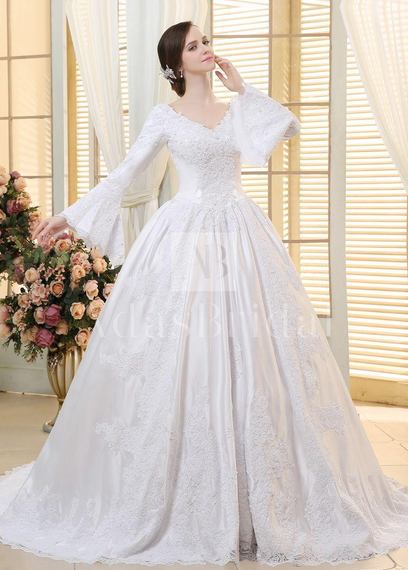 vintage satin vneck neckline ball gown wedding dresses with