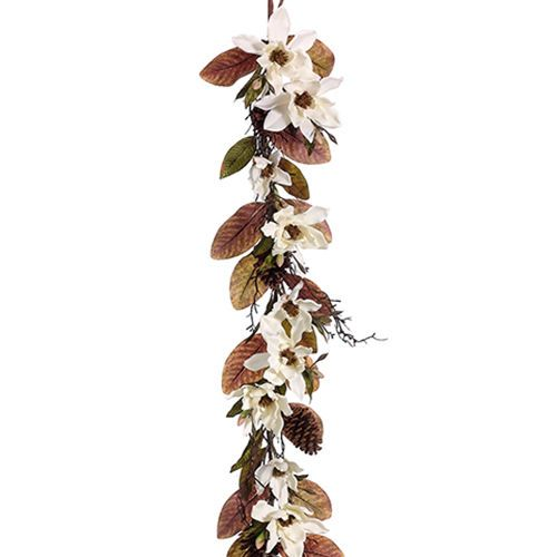 5 Magnolia Pinecone Silk Flower Garland Ivory Green Pack Of 2 Floral Garland Silk Flowers Flower Garlands