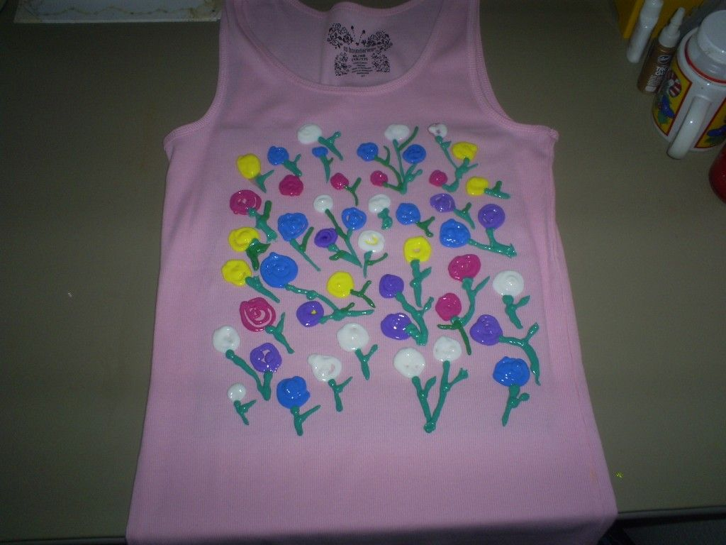 Puffy paint designs - How To Paint A Shirt With Impressionist Roses Puffy Paint