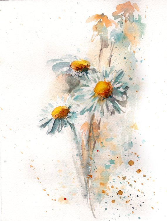 Watercolor Daisy Tattoo