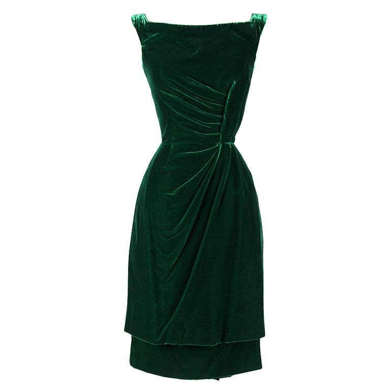 Vintage 1950\'s Ceil Chapman Emerald Green Silk Velvet Dress