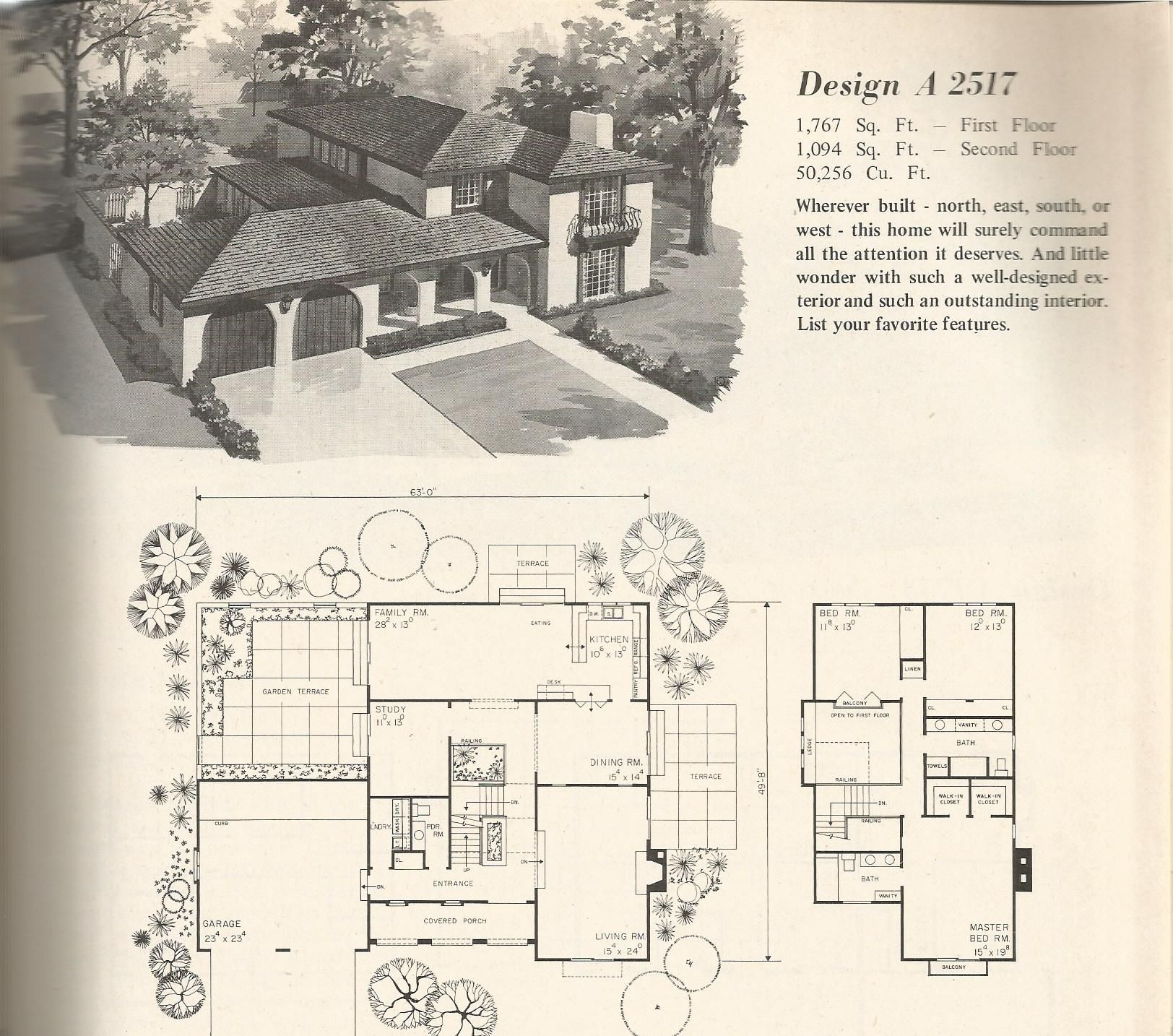 vintage house plans, mid century homes, 1960s homes | 40s 50s 60s