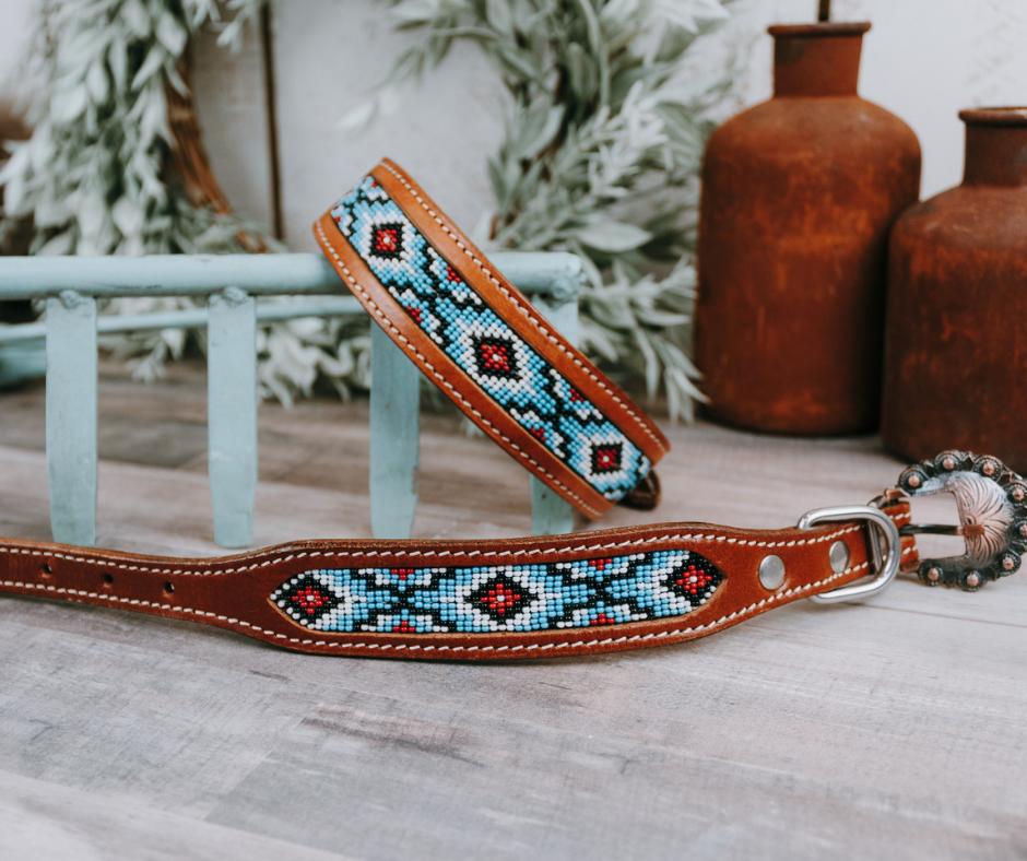 matching collar leash beaded collar leather collar beaded leather dog leash beaded leash leather dog leash aztec Dog leash collar set