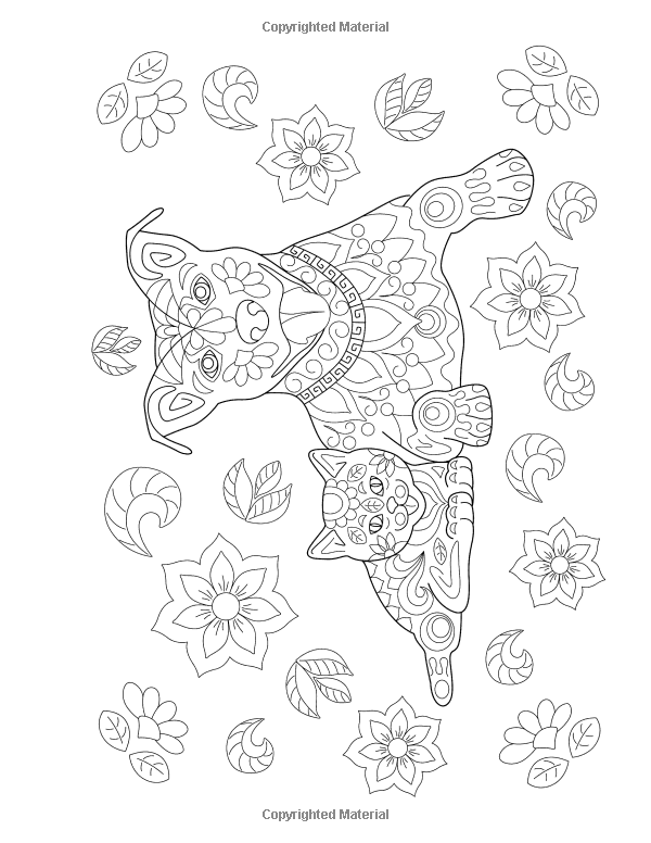 Cats And Dogs Coloring Book For Adults Unique Floral Tangle Dog Cat Designs Art Therapy Volume 2 Artistic Den Avon Books
