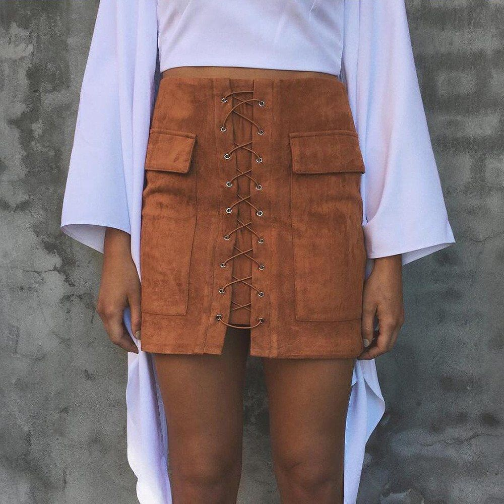 Faux suede bandage pockets package hip bust skirt fashion