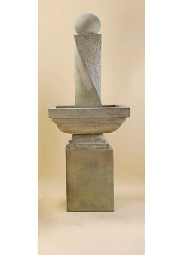Cast Stone Pedestal Water Fountain: Giannini Garden Ornaments: Mod Twist  Tall With Ball