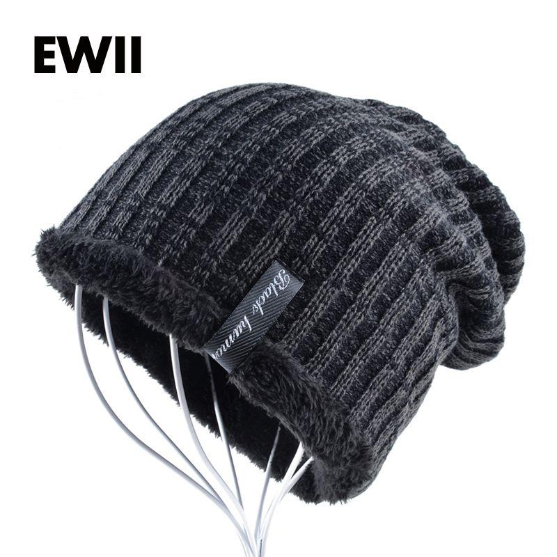 30e3441c83c Skullies   Beanies EWII 2017 Winter knitted cap men beanie wool hats for  men beanies bonnet stripe hat skullies boys casual warm caps bone feminino    ...