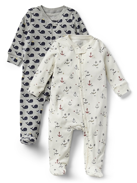 d0e319e51 Gap Baby Nautical Zip Footed One-Piece (2-Pack) Multi