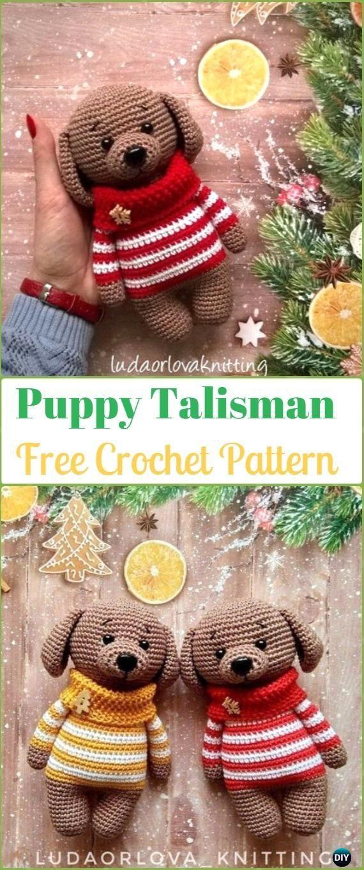 DIY Crochet Amigurumi Puppy Dog Stuffed Toy Free Patterns #stuffedtoyspatterns