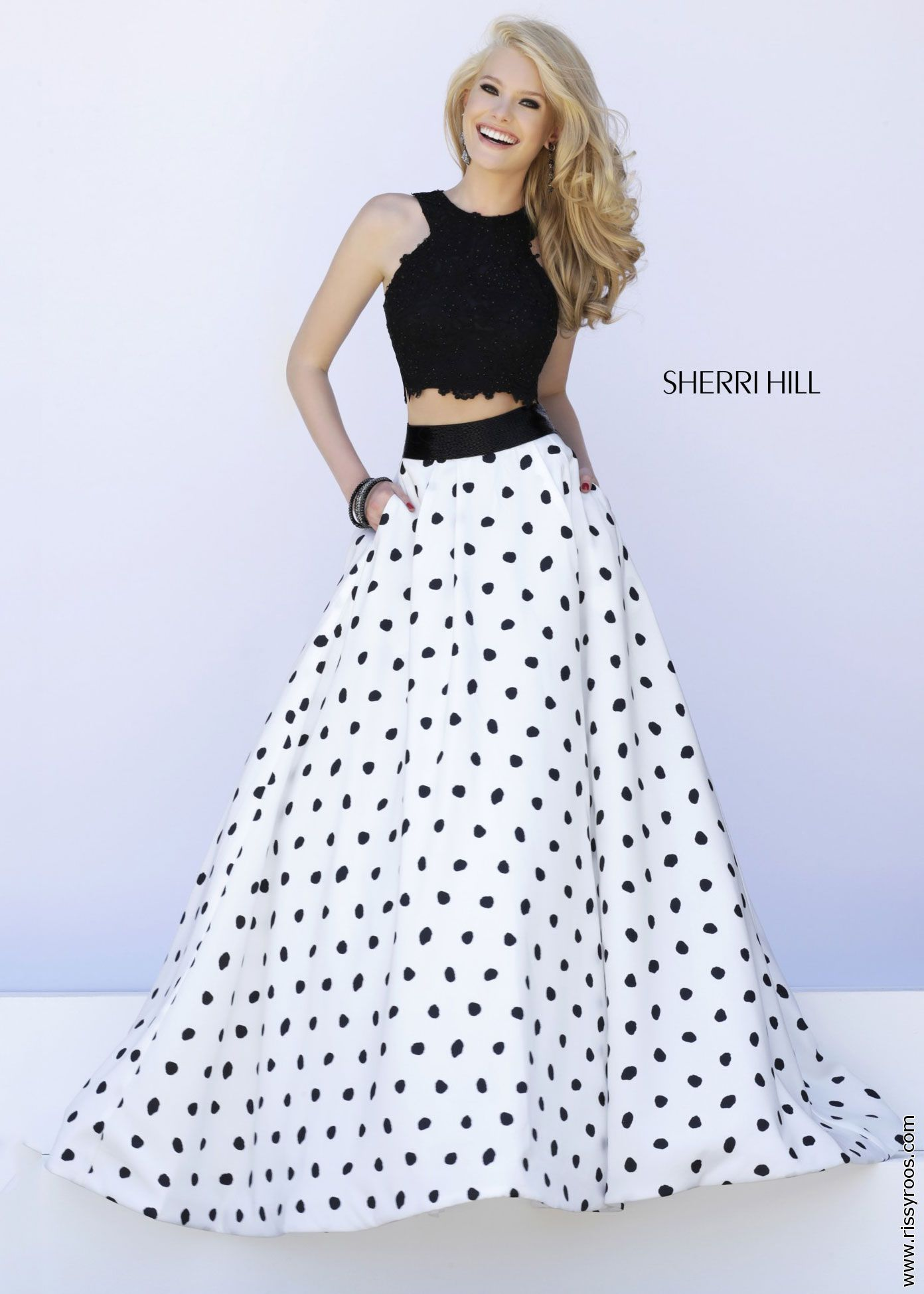 Sherri Hill 32215 - 2PC Black Lace Crop Top with White and Black ...