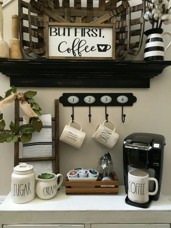 Cute Coffee Bar Setup. Sign Available At Etsy Store. #coffee #wallart #