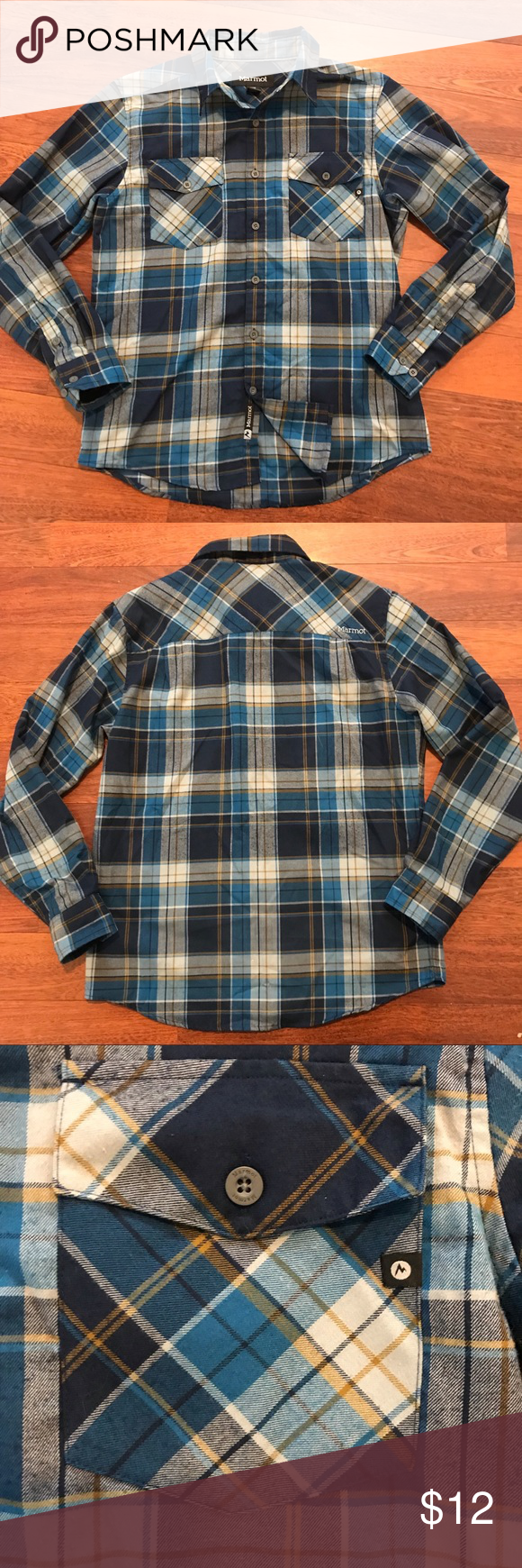 Marmot blue plaid shirt button down Marmot blue plaid