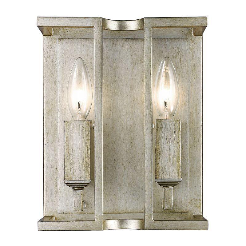 "Golden Lighting 7151-WSC Bellare 2 Light ADA Compliant Wall Sconce - 8"" Wide White Gold Indoor Lighting Wall Sconces"