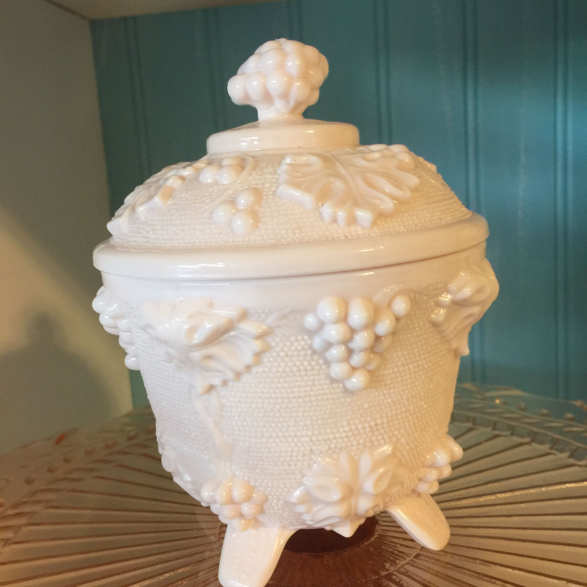 Shell Pink Milk Glass Covered Candy Dish