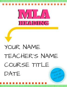 mla format heading poster classroom smorgasbo a rd pinterest