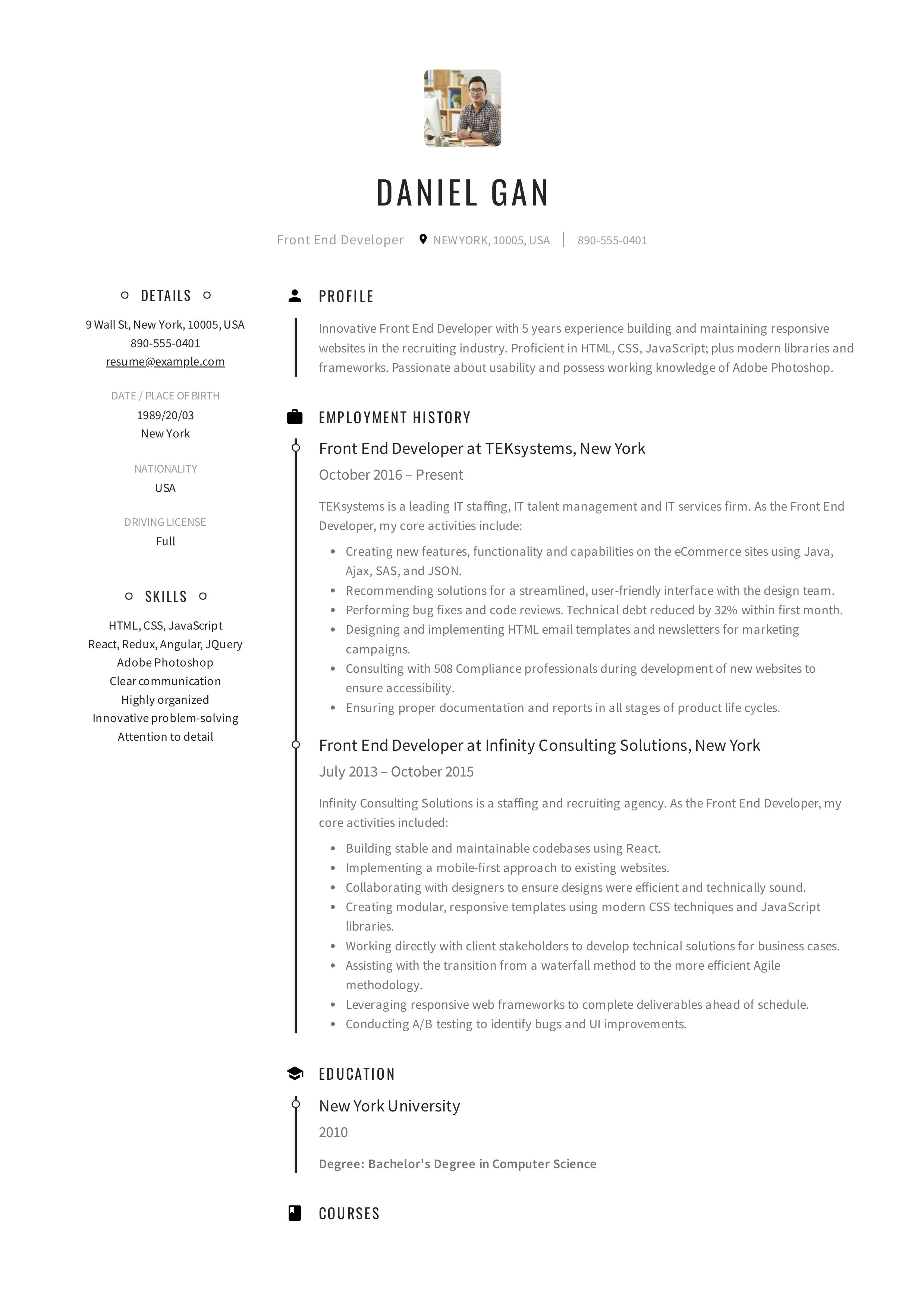 Front End Developer Resume Example Resume Examples Resume Web Developer Resume