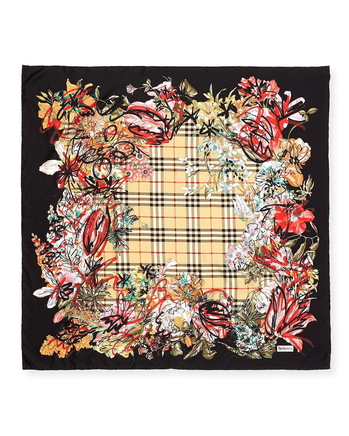 c7084b64ac40 Burberry Scribble Floral Vintage Check Silk Square Scarf