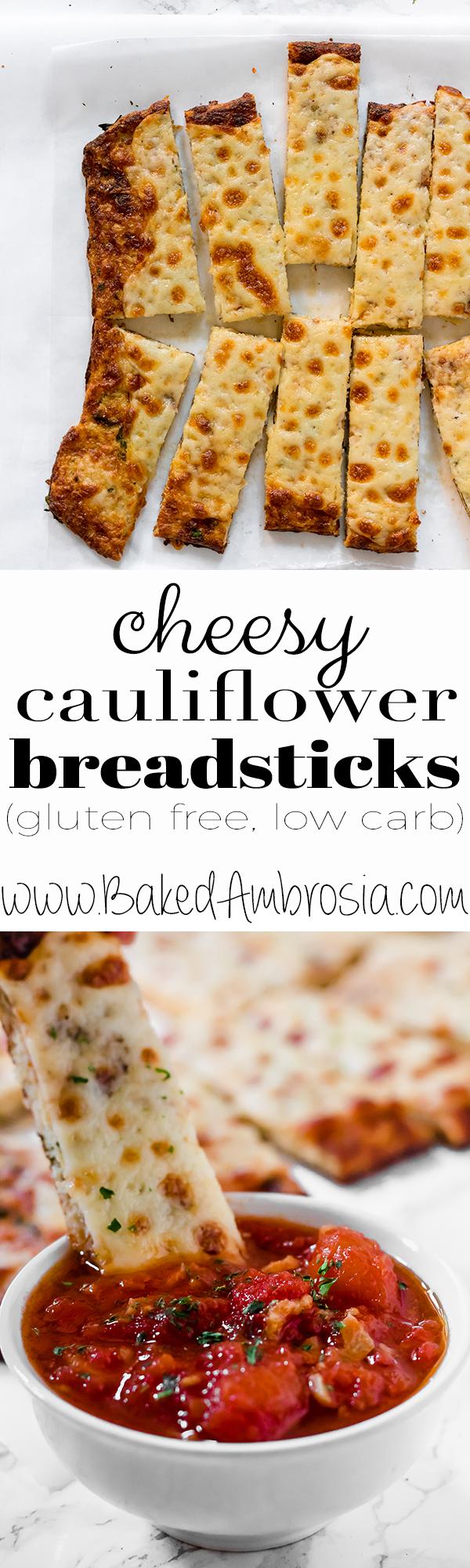 Low Carb Cheesy Cauliflower Breadsticks (gluten free