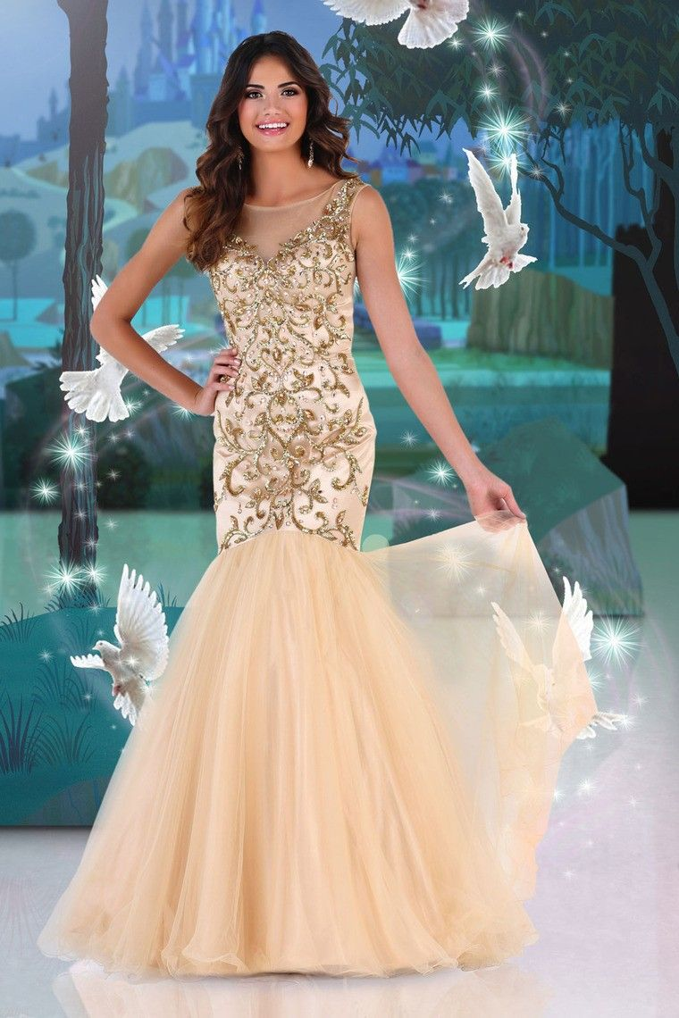 scoop mermaidtrumpet prom dress beaded bodice with tulle skirt