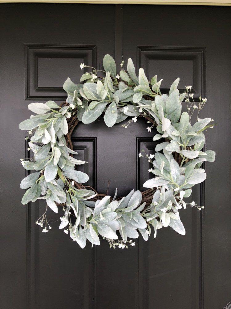Photo of Lamb ear flower wreath | Front door wreath | Spring wreath | Summer wreath | Wedding wreath | Simple wreath Door hanger