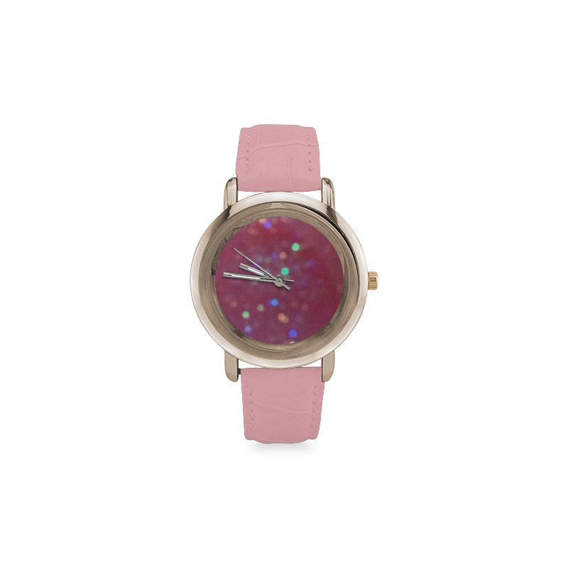 Lighting Up the Pink Women's Rose Gold Leather Strap Watch(Model201)