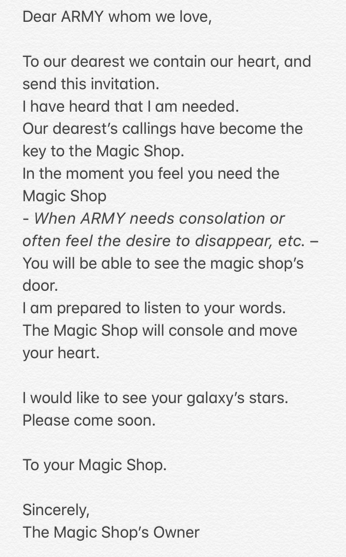 ENGLISH TRANSLATION] 'INVITATION📜 from #MAGICSHOP ' #5THMUSTER #BTS 🖋 |  Magic shop, All bts members, Invitations