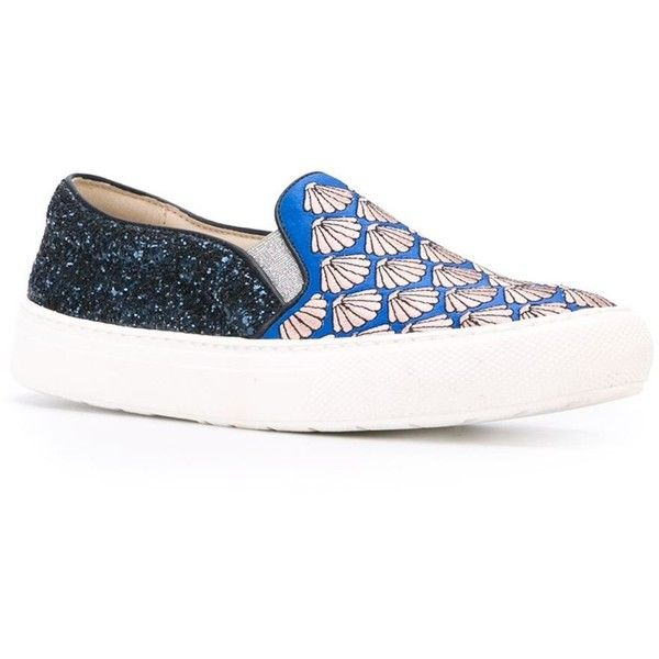 Markus Lupfer panelled slip-on sneakers (2,970 MXN) ❤ liked on Polyvore featuring shoes, sneakers, blue leather shoes, leather slip-on shoes, leather trainers, real leather shoes and slip-on shoes