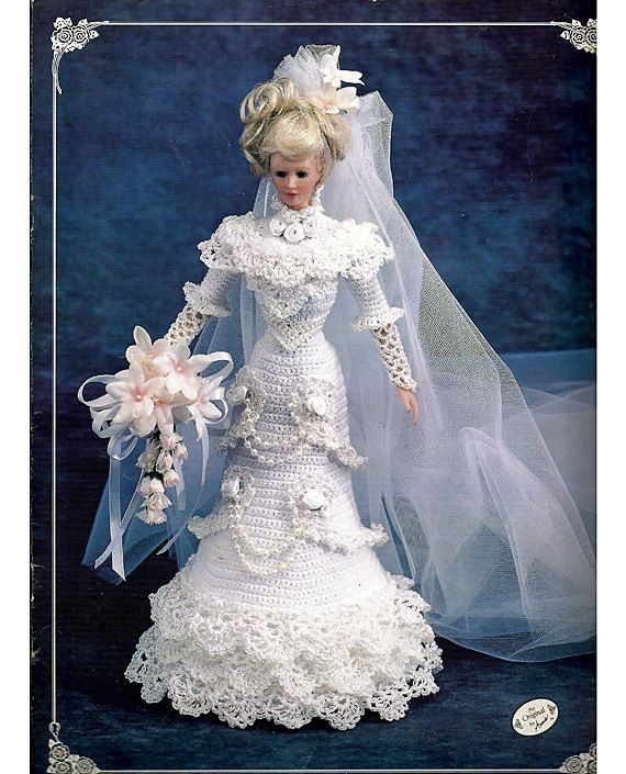 1996 Bride Doll Gown The Edwardian Lady by grammysyarngarden, $9.00