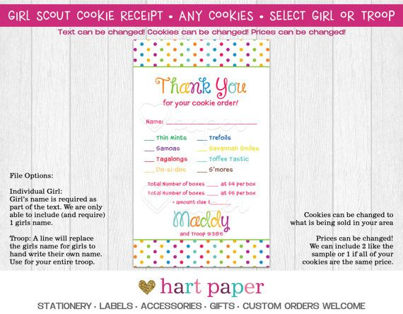 Girl Scout Cookie Order Receipt Thank You Card Reorder Printed Or
