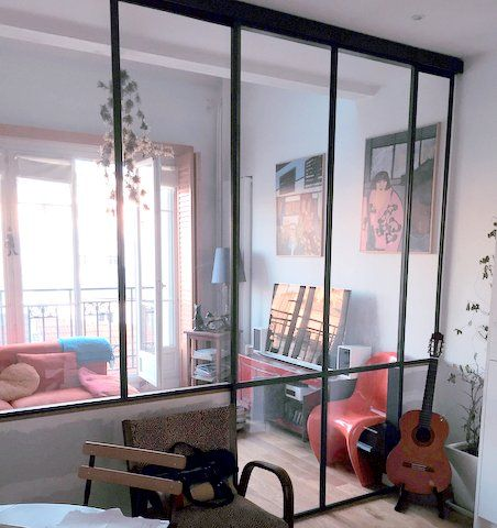 Porte coulissante vitre toute hauteur ral Noir 9005 Neuilly 92 - porte coulissante style atelier