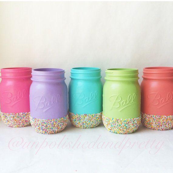 Painted Mason Jars With Candy Sprinkles Painted Mason Jars Mason Jars Sprinkles Pastel Sprinkles Cupcake P Mason Jar Diy Baby Food Jars Diy Baby Food Jars