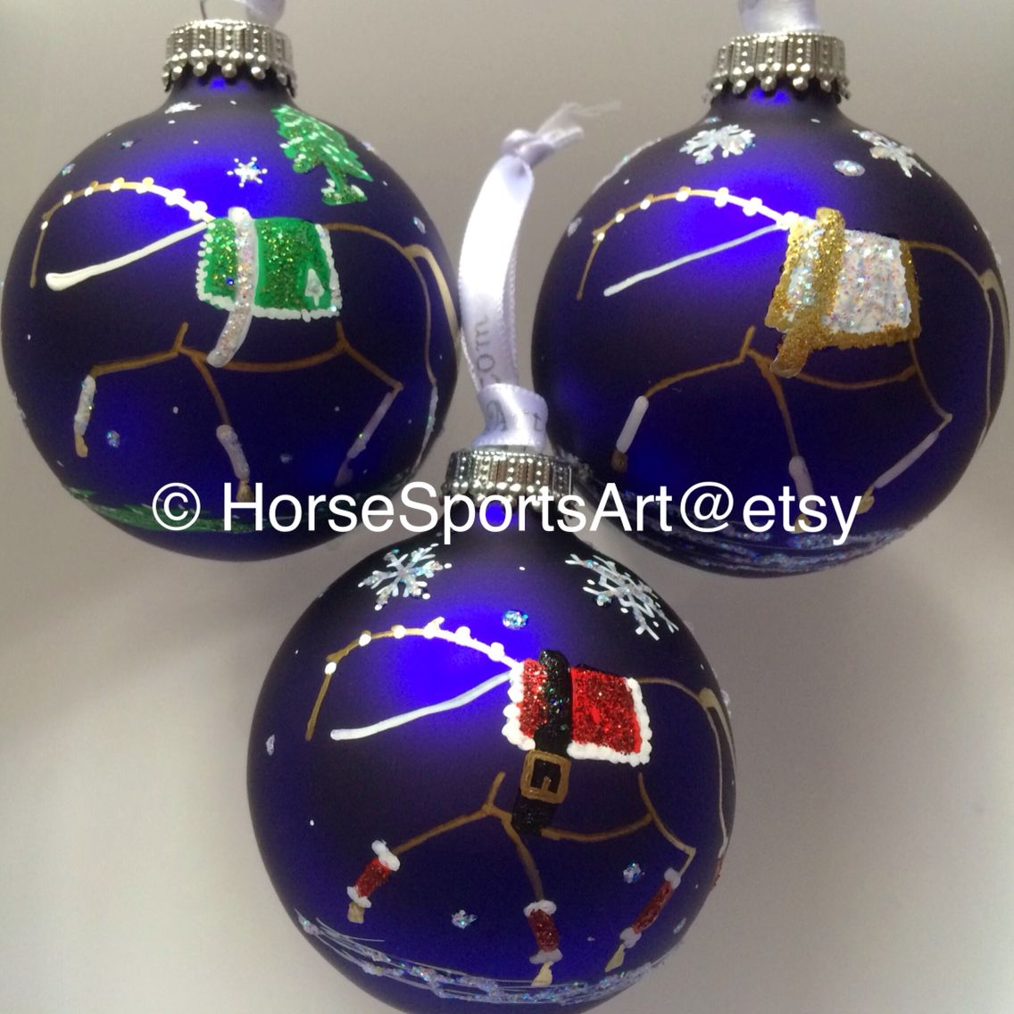 Equestrian Vaulting Horse Handpainted Christmas Ornaments