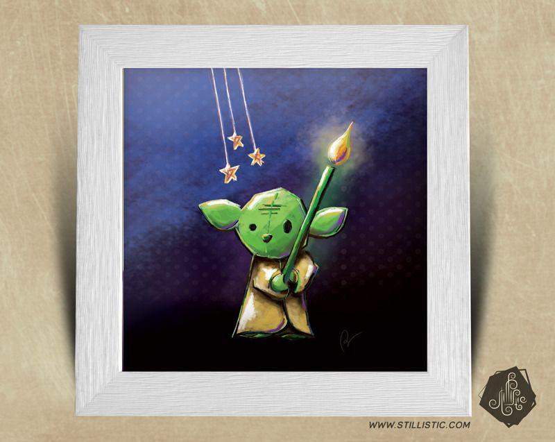 Cadre carr 25x25 avec illustration maitre yoda bougie - Illustration chambre bebe ...