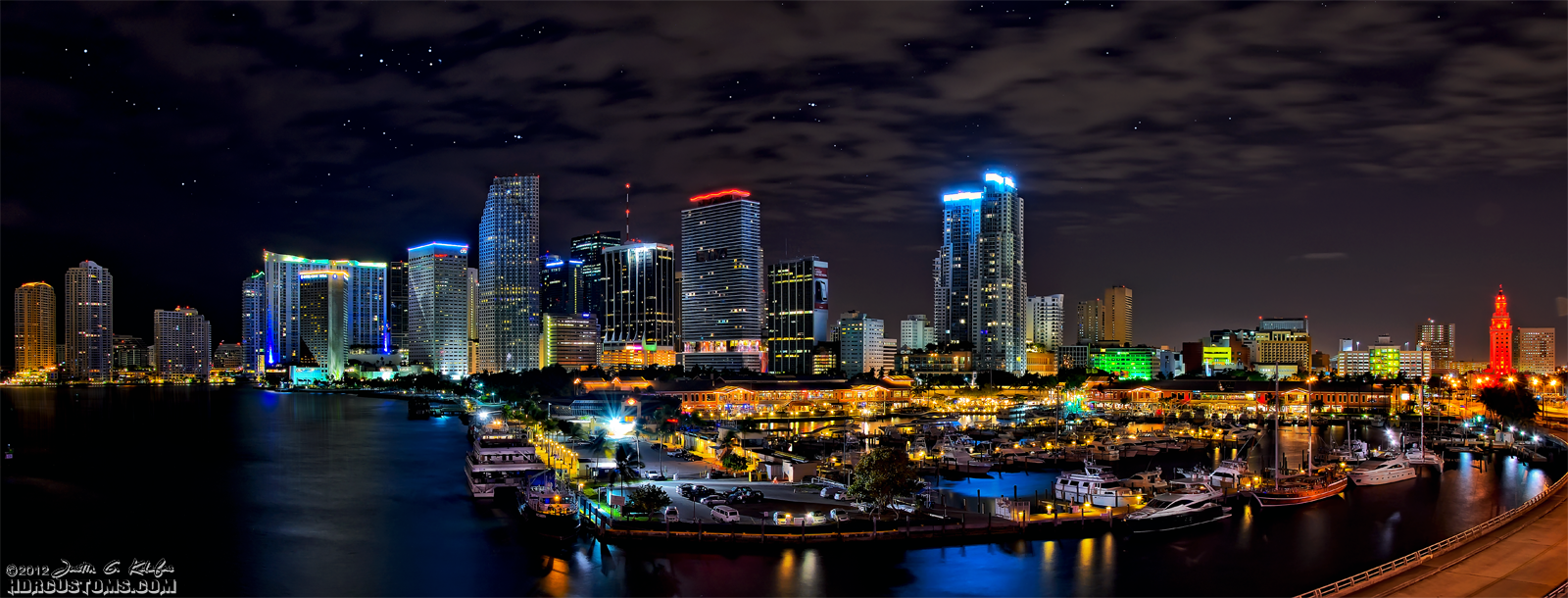 Bayside by Night, Downtown Miami from the Port blvd bridge panoramic HDR