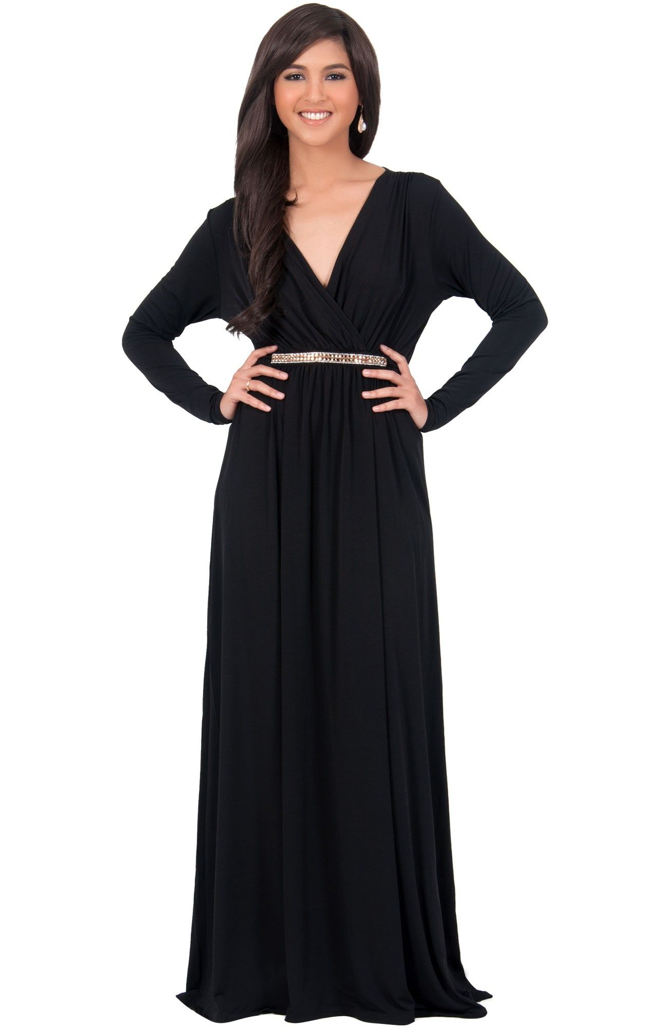 Black maxi dress with belt