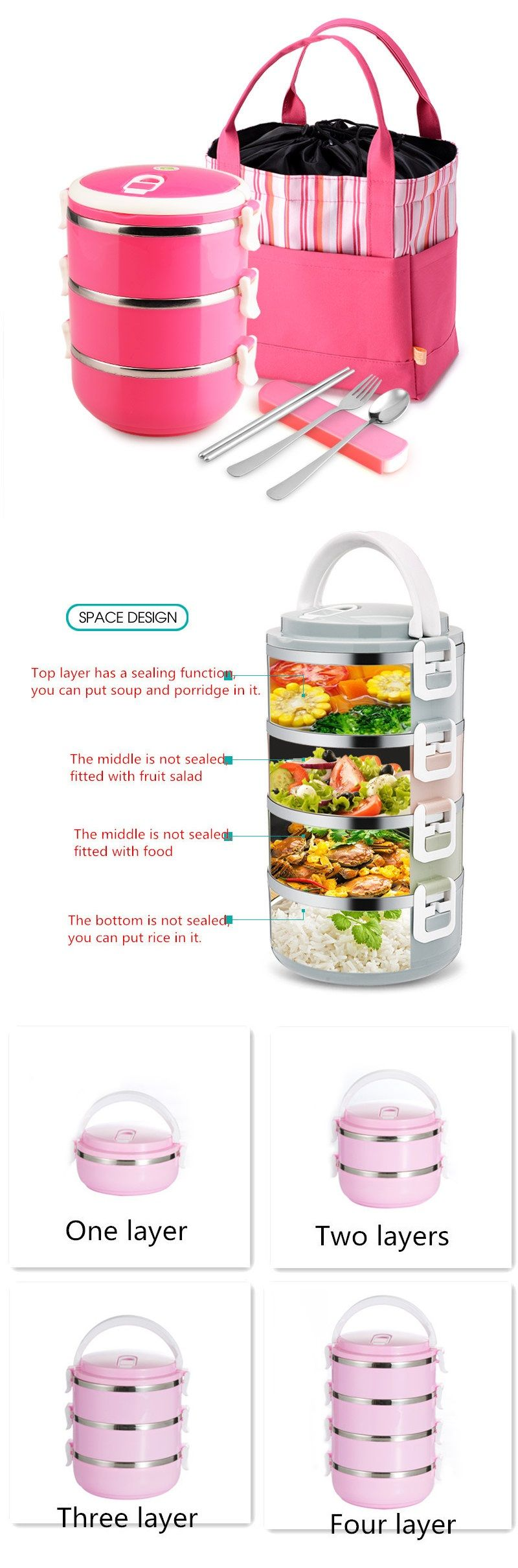 Stainless Steel Double-layer Insulation Lunch Box Sealed