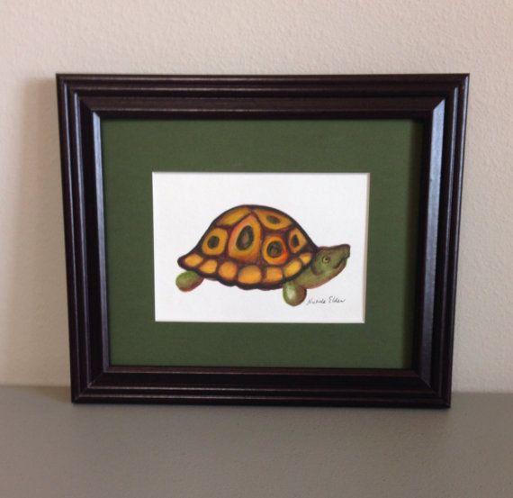 Turtle Watercolor Painting Framed Original by GulfLifebyNichole
