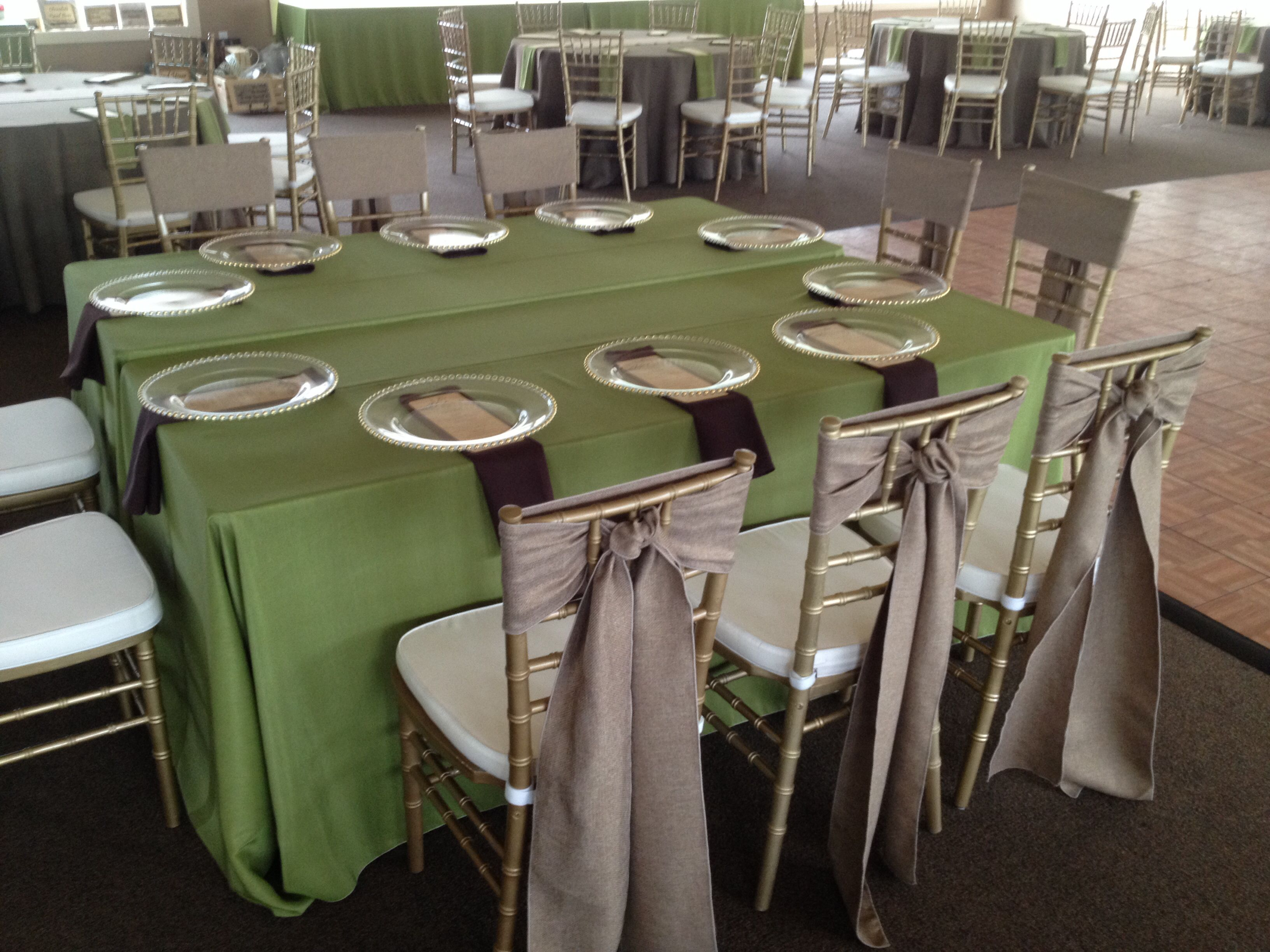 Moss green burlap and chocolate brown Chiavari chairs and linens