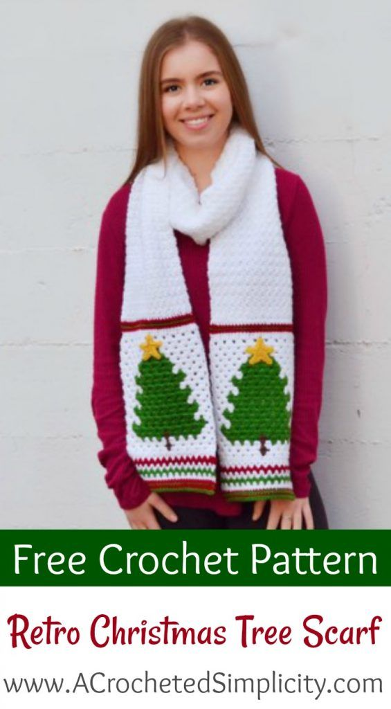 Free Crochet Pattern - Retro Christmas Tree Scarf by A Crocheted ...