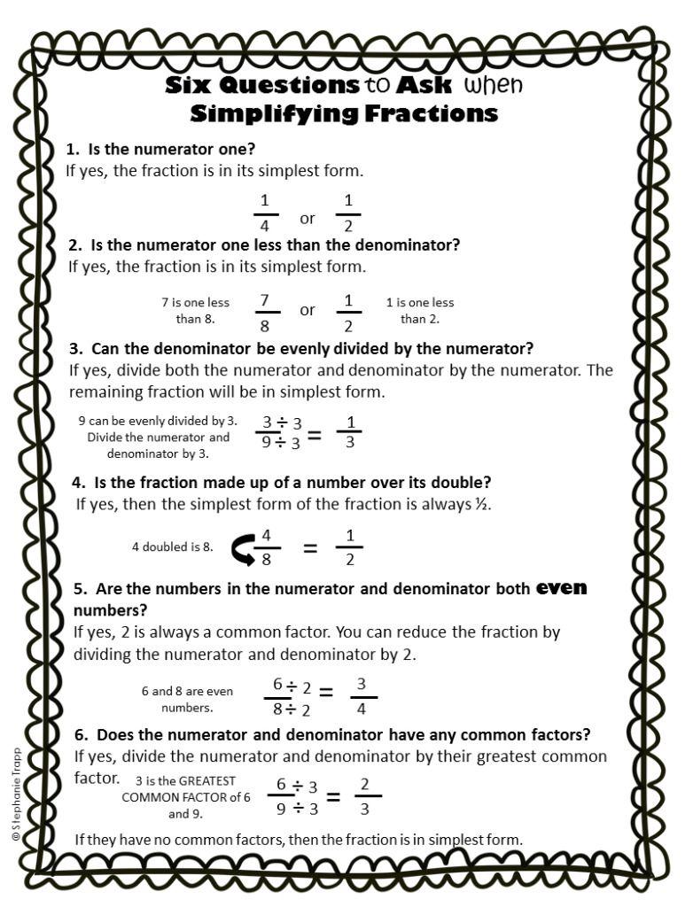 medium resolution of Simplifying Fractions Worksheet and Template   Simplifying fractions