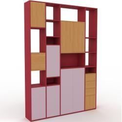 Photo of Storage wall powder pink – individual designer shelf wall: drawers in oak & doors in powder pink – high